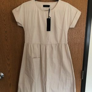 Rollee Cream and White Pocket Dress